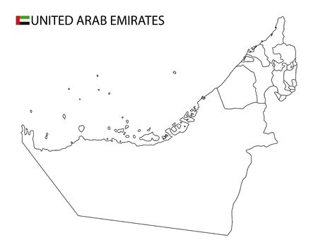 United Arab Emirates map, black and white detailed outline regions of the country. Vector illustration