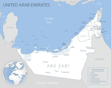 Blue-gray detailed map of United Arab Emirates administrative divisions and location on the globe. Vector illustration