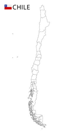 Chile map, black and white detailed outline regions of the country. Vector illustration