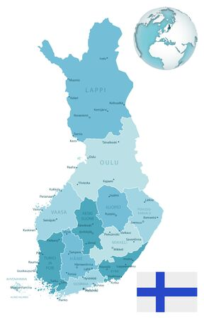 Finland administrative blue-green map with country flag and location on a globe. Vector illustration