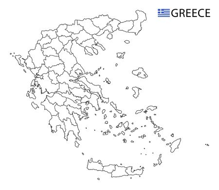 Greece map, black and white detailed outline regions of the country. Vector illustration