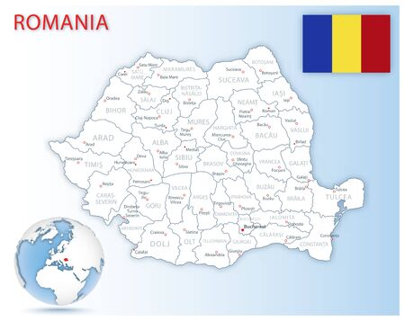 Detailed Romania administrative map with country flag and location on a blue globe. Vector illustration