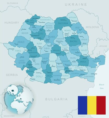 Blue-green detailed map of Romania administrative divisions with country flag and location on the globe. Vector illustration