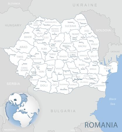 Blue-gray detailed map of Romania administrative divisions and location on the globe. Vector illustration