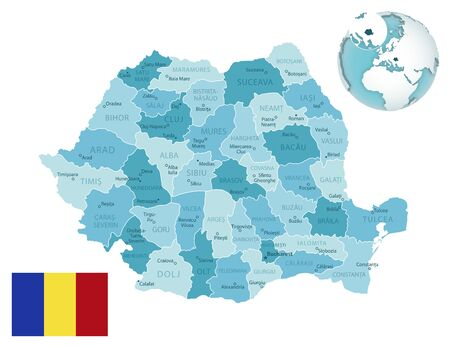 Romania administrative blue-green map with country flag and location on a globe. Vector illustration