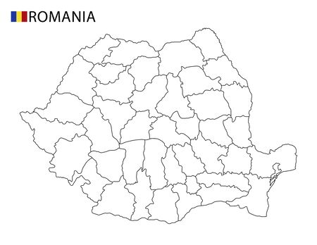 Romania map, black and white detailed outline regions of the country. Vector illustration
