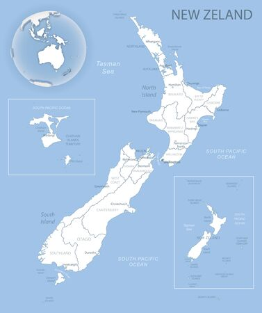 Blue-gray detailed map of New Zealand and administrative divisions and location on the globe. Vector illustration