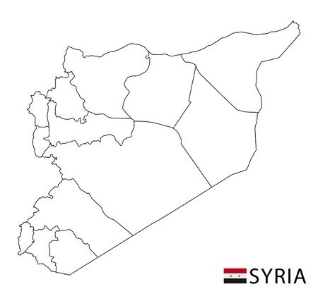 Syria map, black and white detailed outline regions of the country. Vector illustration