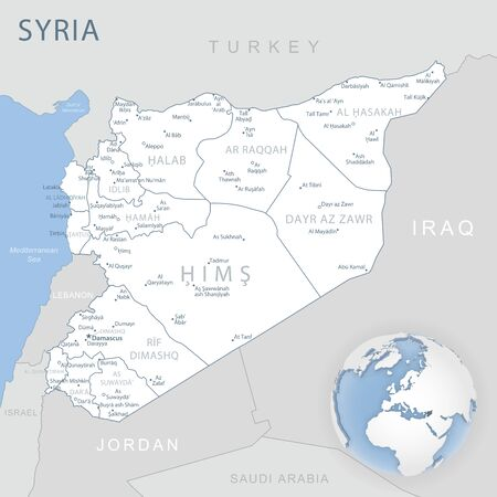 Blue-gray detailed map of Syria administrative divisions and location on the globe. Vector illustration Ilustración de vector