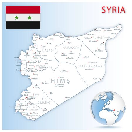 Detailed Syria administrative map with country flag and location on a blue globe. Vector illustration