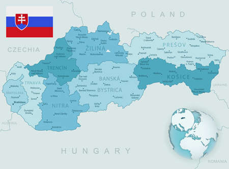 Blue-green detailed map of Slovakia administrative divisions with country flag and location on the globe. Vector illustration Векторная Иллюстрация