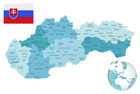 Slovakia administrative blue-green map with country flag and location on a globe. Vector illustration 矢量图像