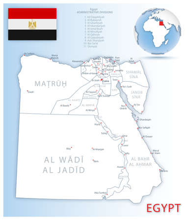 Detailed map of Egypt administrative divisions with country flag and location on the globe. Vector illustration