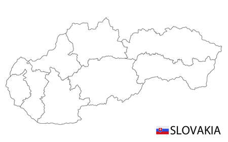 Slovakia map, black and white detailed outline regions of the country. Vector illustration