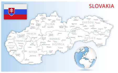 Detailed Slovakia administrative map with country flag and location on a blue globe. Vector illustration