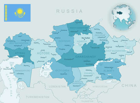 Blue-green detailed map of Kazakhstan administrative divisions with country flag and location on the globe. Vector illustration