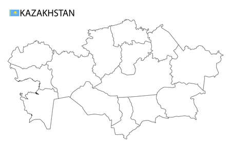 Kazakhstan map, black and white detailed outline regions of the country. Vector illustration
