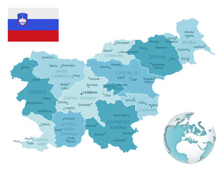 Slovenia administrative blue-green map with country flag and location on a globe. Vector illustration