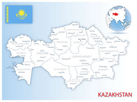Detailed Kazakhstan administrative map with country flag and location on a blue globe. Vector illustration Ilustracja