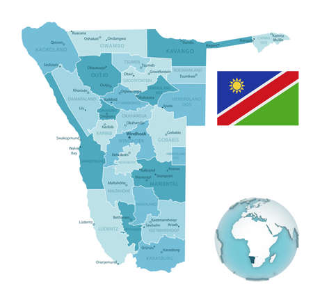 Namibia administrative blue-green map with country flag and location on a globe. Vector illustration