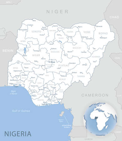 Blue-gray detailed map of Nigeria administrative divisions and location on the globe. Vector illustration Vector Illustratie