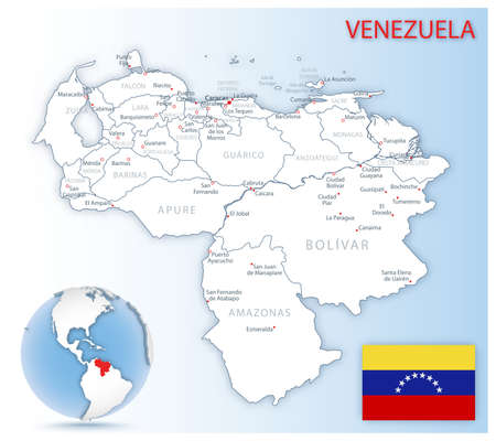 Detailed Venezuela administrative map with country flag and location on a blue globe. Vector illustration