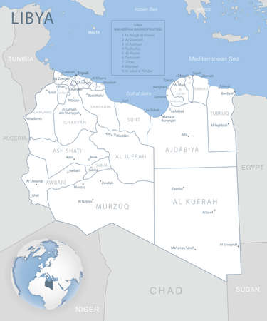 Blue-gray detailed map of Libya administrative divisions and location on the globe. Vector illustration
