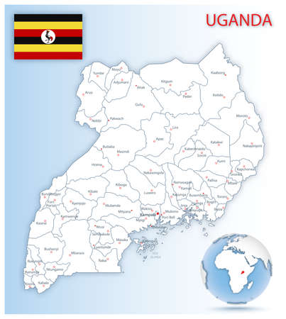 Detailed Uganda administrative map with country flag and location on a blue globe. Vector illustration