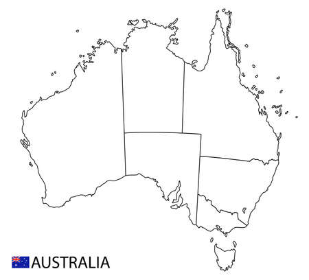 Australia map, black and white detailed outline regions of the country. Vector illustration
