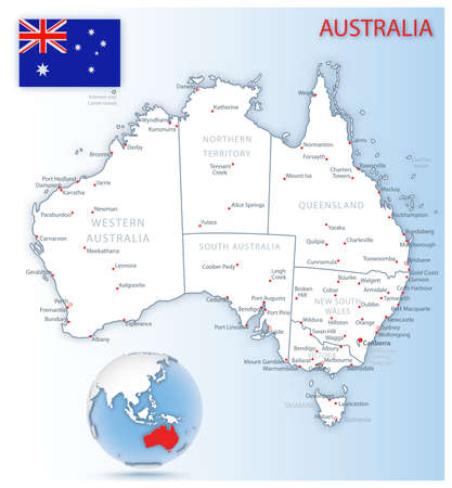 Detailed Australia administrative map with country flag and location on a blue globe. Vector illustration