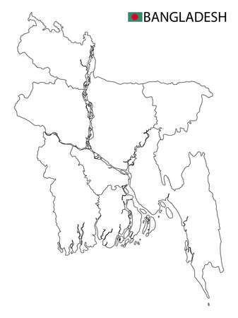 Bangladesh map, black and white detailed outline regions of the country. Vector illustration