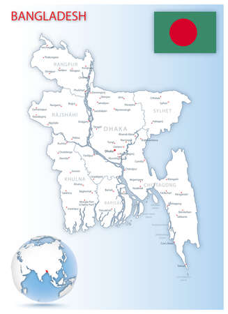 Detailed Bangladesh administrative map with country flag and location on a blue globe. Vector illustration 向量圖像