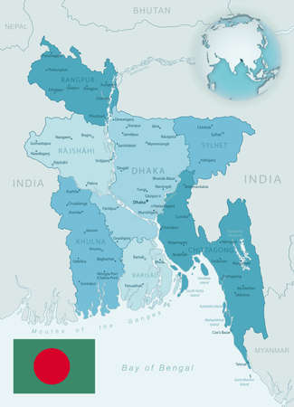 Blue-green detailed map of Bangladesh administrative divisions with country flag and location on the globe. Vector illustration