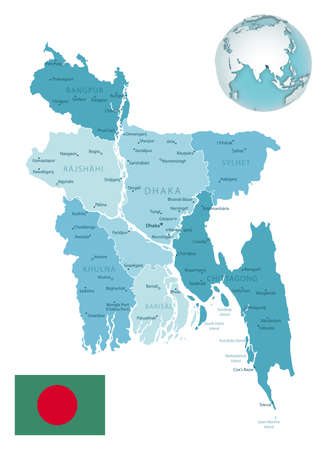 Bangladesh administrative blue-green map with country flag and location on a globe. Vector illustration