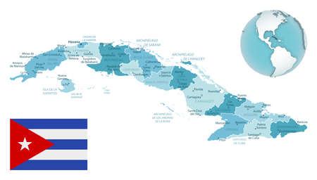 Cuba administrative blue-green map with country flag and location on a globe. Vector illustration