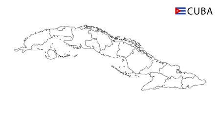 Cuba map, black and white detailed outline regions of the country. Vector illustration