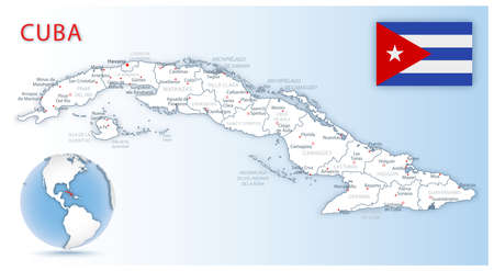 Detailed map of Cuba administrative divisions with country flag and location on the globe. Vector illustration
