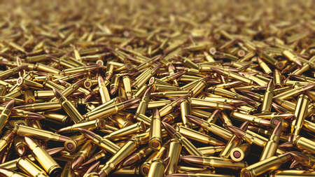 Ammo. Large number of live ammunition ak-47, the focus is in the foreground. 3D render