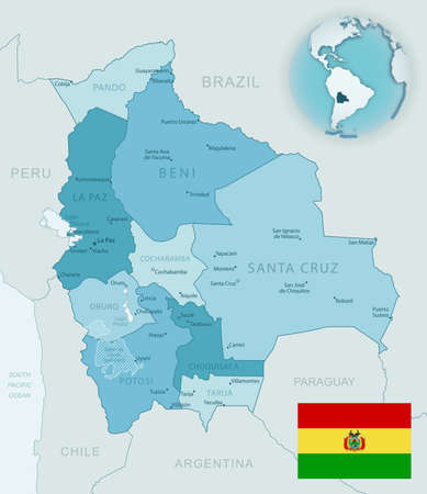 Blue-green detailed map of Bolivia administrative divisions with country flag and location on the globe. Vector illustration