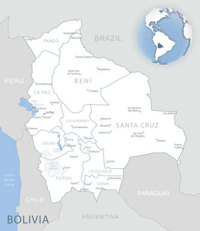 Blue-gray detailed map of Bolivia administrative divisions and location on the globe. Vector illustration