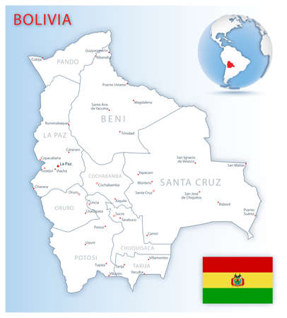 Detailed Bolivia administrative map with country flag and location on a blue globe. Vector illustration