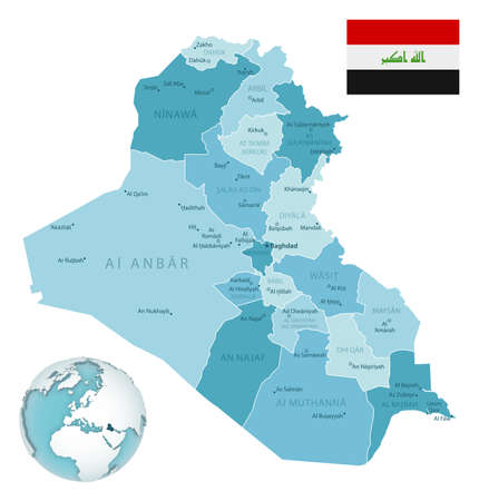 Iraq administrative blue-green map with country flag and location on a globe. Vector illustration Vecteurs
