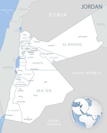 Blue-gray detailed map of Jordan administrative divisions and location on the globe. Vector illustration