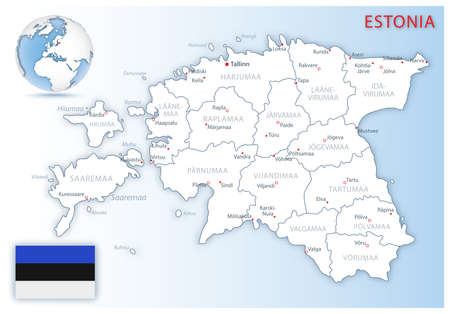 Detailed map of Estonia administrative divisions with country flag and location on the globe. Vector illustration Vektorgrafik