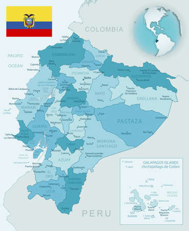 Blue-green detailed map of Ecuador administrative divisions with country flag and location on the globe. Vector illustration