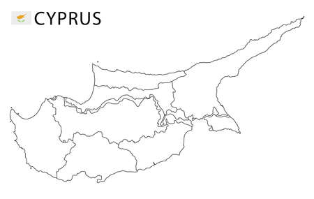 Cyprus map, black and white detailed outline regions of the country. Vector illustration