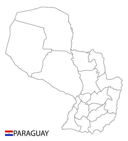 Paraguay map, black and white detailed outline regions of the country. Vector illustration 矢量图像