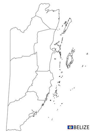Belize map, black and white detailed outline regions of the country. Vector illustration