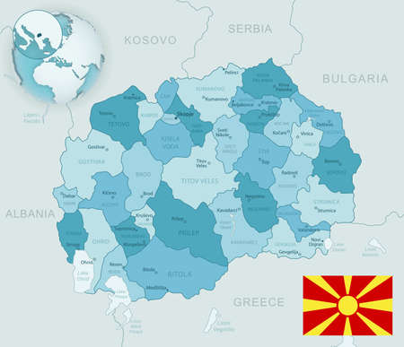Blue-green detailed map of Macedonia administrative divisions with country flag and location on the globe. Vector illustration