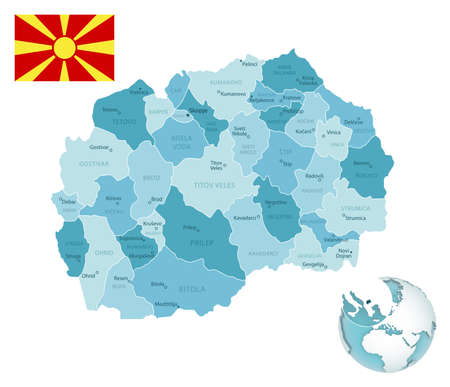 Macedonia administrative blue-green map with country flag and location on a globe. Vector illustration